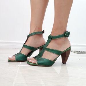 Costa Blanca Green snakeskin sandals